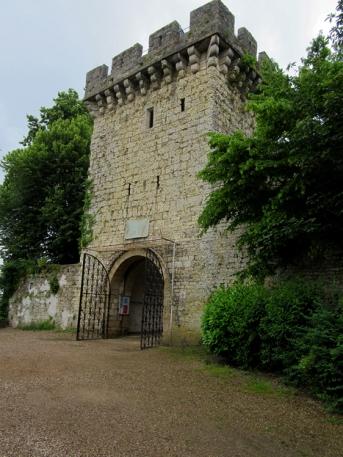 Gray chateau entrance
