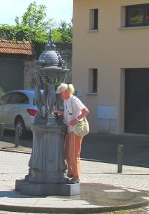 Art Deco metal fountain