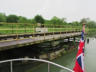 The old disused railway swing bridge