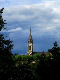Church spire before a storm