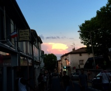 pink clouds over Cstelnaudary