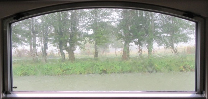 rain through the galley window