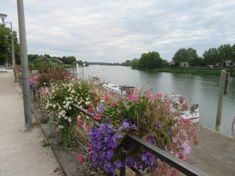 Moored on a flower filled quay