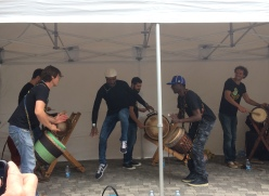 African drums and energetic dancer