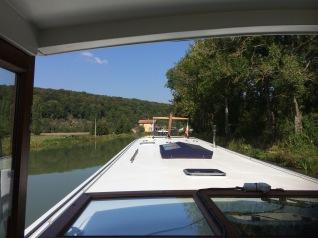 a big blue barge bears down on us